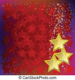 résumé, étoiles, or, fond, noël