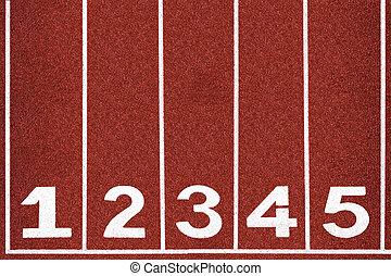 résumé, 1-5, piste, nombre, arrière-plan., courant, texture