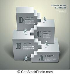résumé, 3d, escalier, infographics