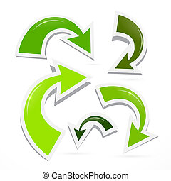 résumé, 3d, vert, flèche, icônes