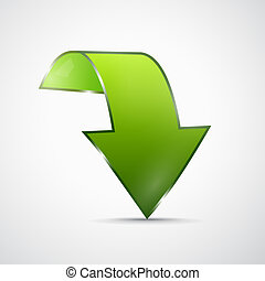 résumé, 3d, vert, icône flèche