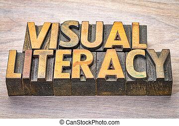 résumé, alphabétisation, mot, visuel, woodtype