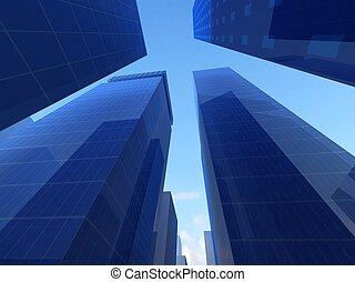 résumé, angle, de, verre bleu, maisons