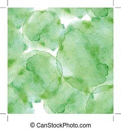 résumé, aquarelle, art, main, peinture, vert, seamless, modèle, blanc, arrière-plan., aquarelle, stains.