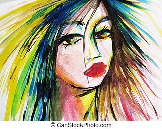 résumé, aquarelle, de, belle femme, figure