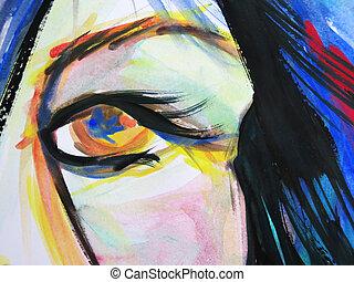 résumé, aquarelle, de, belle femme, yeux