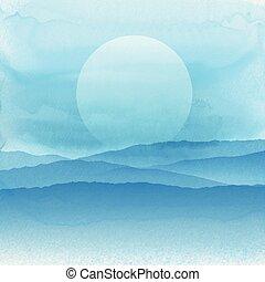 résumé, aquarelle, style, paysage