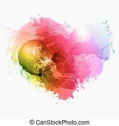 résumé, aquarelle, vecteur, coeur