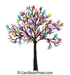 résumé, arbre, concept., mains