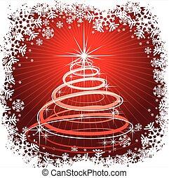 résumé, arbre, illustration, fond, noël, rouges