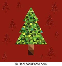 résumé, arbre, noël, fond, rouges