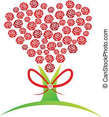 résumé, arbre, roses, conception, logo, rouges
