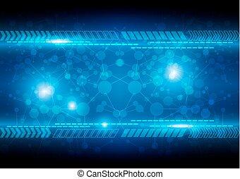 résumé, arrière-plan bleu, technologie