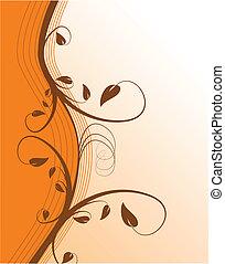 résumé, arrière-plan orange, floral, vecteur