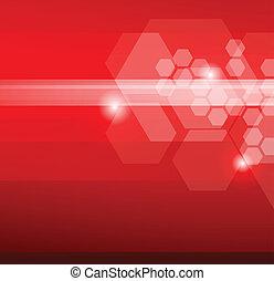 résumé, arrière-plan rouge, hexagones