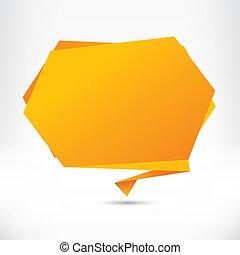 résumé, arrière-plan., vecteur, parole, origami, bulle, ...