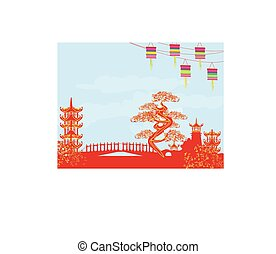 résumé, asiatique, paysage