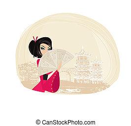 résumé, asiatique, paysage, geisha