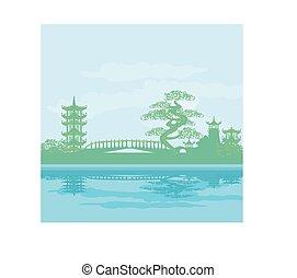 résumé, asiatique, paysage, temple
