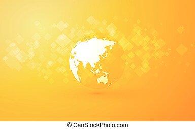 résumé, asie, fond jaune, globe terre