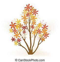 résumé, automne, arbre