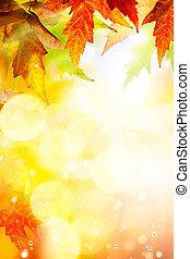 résumé, automne, fond, art