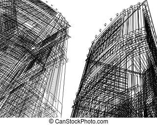 résumé, bâtiment,  render,  3D