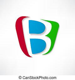 résumé, b, basé, lettre, icône