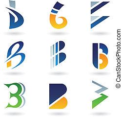 résumé, b, lettre, icônes