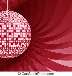 résumé, balle, arrière-plan rouge, disco