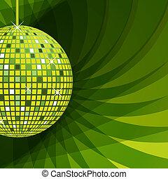 résumé, balle, arrière-plan vert, disco