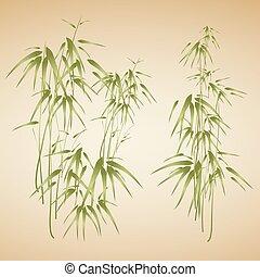 résumé, bambou, fond