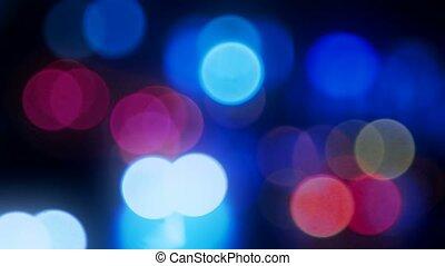résumé, barbouillage, lumières, trafic, fond, nuit