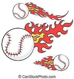 résumé, base-ball, flammes, ensemble