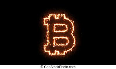 résumé, bitcoin, fond, signe