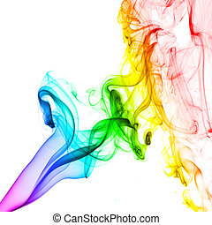 résumé, blanc, fond, coloré, fumée