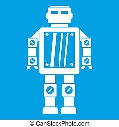 résumé, blanc, icône, robot