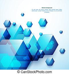 résumé, bleu, et, verre, hexahedrons, arrière-plan., usage,...