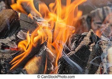 résumé, bois brûler, fond