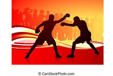 résumé, boxe, arrière-plan rouge