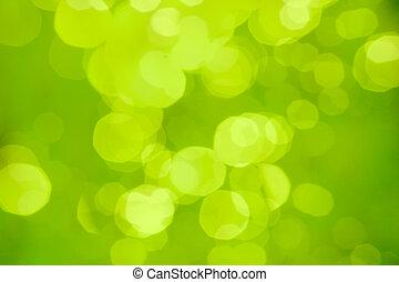 résumé, brouillé, bokeh, arrière-plan vert, ou