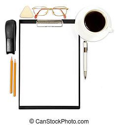 résumé, business, fond, à, fourniture bureau