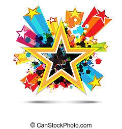 résumé, célébration, étoile, fond, conception