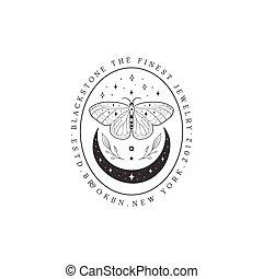 résumé, cadre, lune, papillon, logo, étoiles