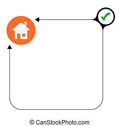 résumé, cadre, pour, ton, texte, à, case pointage, et, maison, symbole