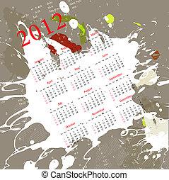 résumé, calendrier, fond, 2012