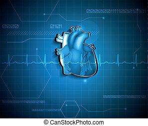 résumé, cardiologie, arrière-plan., technologie médicale, concept.
