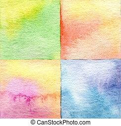 résumé, carrée, aquarelle, peint, fond