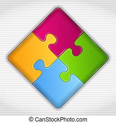 résumé, carrée, puzzle