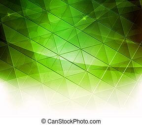 résumé, carrés, arrière-plan vert